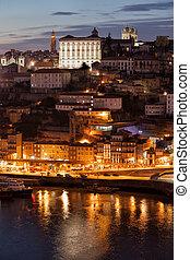 cityscape, porto, portugal, nuit