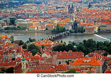 Prague - Cityscape: Prague aerial view, in the middle the ...