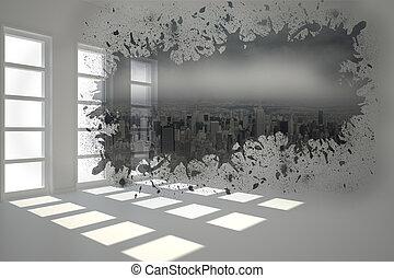 cityscape, projection, éclaboussure