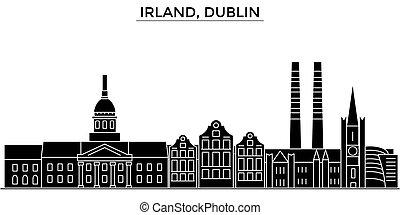 cityscape, repères, vecteur, dublin, isolé, bâtiments, fond, irland, vues, ville, voyage, horizon, architecture