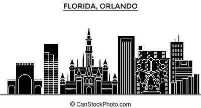cityscape, repères, vecteur, floride, isolé, bâtiments, fond...