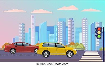 cityscape, route, lumières, trafic, rue, autoroute