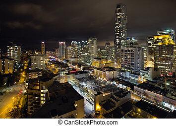 cityscape, rue, vancouver, robson, jésus-christ