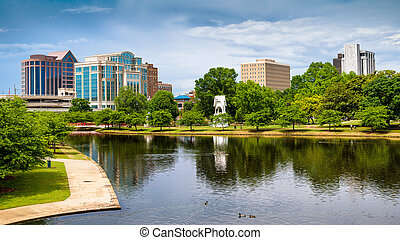 Cityscape scene of downtown Huntsville, Alabama, from Big Spring Park