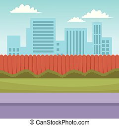 Cityscape scenery cartoon from street view vector...
