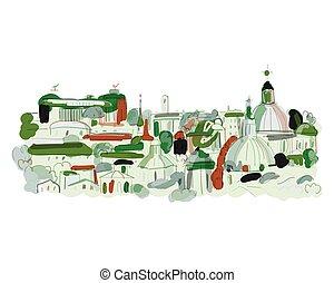 cityscape, schets, achtergrond, ontwerp, jouw