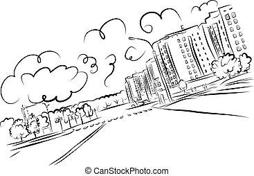 cityscape, schets, ontwerp, jouw