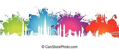 cityscape, schizzo, colorito