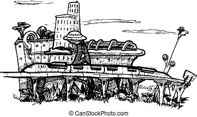 Panorama of the fantastic megalopolis. Vector black and white illustration stylized as engraving.