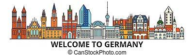cityscape, señales, silueta, vector, alemania, delgado, alemán, viaje, urbano, línea, plano, banner., iconos, perfil de ciudad, contorno, illustrations.