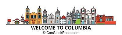 cityscape, señales, silueta, vector, colombia, delgado, urbano, viaje, colombino, línea, plano, banner., iconos, perfil de ciudad, contorno, illustrations.