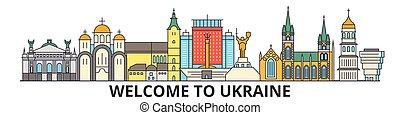 cityscape, señales, silueta, vector, contorno, delgado, ucrania, viaje, urbano, línea, plano, banner., iconos, ukranian, ciudad, contorno, illustrations.