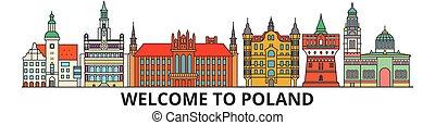 cityscape, señales, silueta, vector, delgado, urbano, polaco, polonia, línea, viaje, plano, banner., iconos, perfil de ciudad, contorno, illustrations.