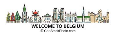 cityscape, señales, silueta, vector, delgado, urbano, viaje, belga, línea, plano, banner., iconos, perfil de ciudad, contorno, bélgica, illustrations.