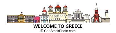 cityscape, señales, silueta, vector, delgado, urbano, viaje, grecia, línea, griego, plano, banner., iconos, perfil de ciudad, contorno, illustrations.