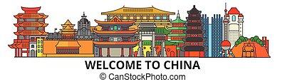 cityscape, señales, silueta, vector, delgado, urbano, viaje, línea, chino, plano, banner., iconos, perfil de ciudad, contorno, china, illustrations.