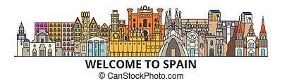 cityscape, señales, silueta, vector, delgado, urbano, viaje, línea, españa, plano, banner., iconos, perfil de ciudad, contorno, español, illustrations.