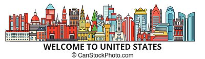 cityscape, señales, silueta, vector, estados, delgado, norteamericano, viaje, urbano, línea, unido, plano, banner., iconos, perfil de ciudad, contorno, illustrations.