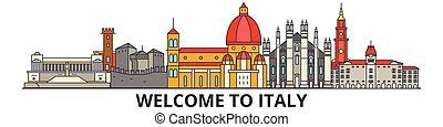 cityscape, señales, silueta, vector, italia, delgado, urbano, viaje, italiano, línea, plano, banner., iconos, perfil de ciudad, contorno, illustrations.