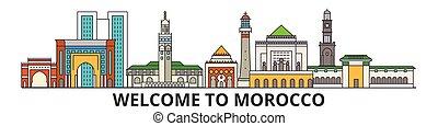 cityscape, señales, silueta, vector, marruecos, delgado, viaje, urbano, línea, plano, banner., iconos, perfil de ciudad, contorno, marroquí, illustrations.