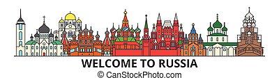 cityscape, señales, silueta, vector, ruso, delgado, urbano, viaje, línea, rusia, plano, banner., iconos, perfil de ciudad, contorno, illustrations.