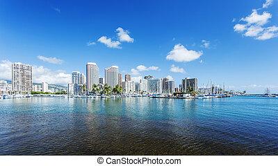 cityscape, seafront, honolulu