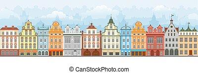 cityscape, seamless, europeu