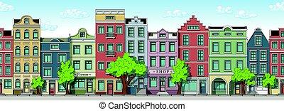 cityscape, seamless, fundo, caricatura