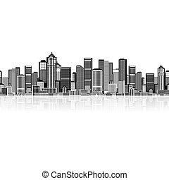 cityscape, seamless, háttér, helyett, -e, tervezés, városi,...