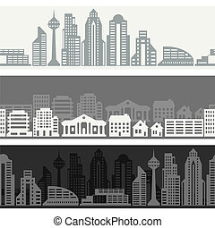 Cityscape seamless horizontal banners with buildings.