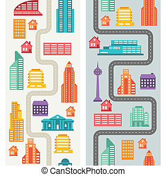 Cityscape seamless vertical banners with buildings.