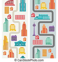 cityscape, seamless, vertical lobogó, noha, épület.