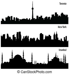 cityscape set - vector set of cityscapes