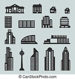 cityscape, set, edifici., icona