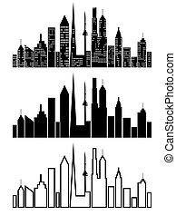 cityscape, set, nero, icone