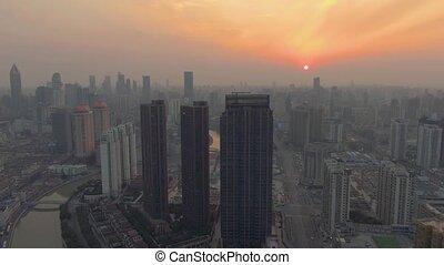 cityscape, shanghai, coucher soleil, résidentiel
