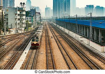 cityscape, shenzhen., soir, china., time.