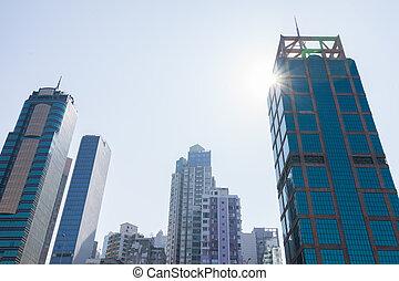 cityscape, sheung, pâle