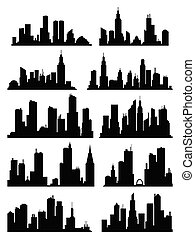 Cityscape silhouette collection. City buildings, night town and horizontal urban panorama silhouettes set. Skyline with windows in a flat style