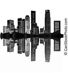 cityscape - silhouettes of skyscrapers