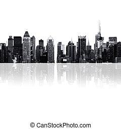 cityscape, silhuetas, -, arranha-céus