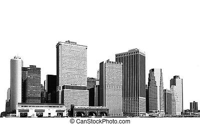 cityscape, -, siluetas, de, rascacielos