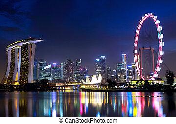 cityscape, singapore, notte