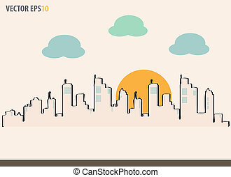 Cityscape, sketch drawing for your design. Vector Illustration, EPS 10.
