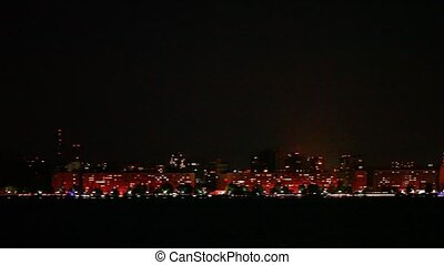 cityscape skyline night bridge district panorama view...