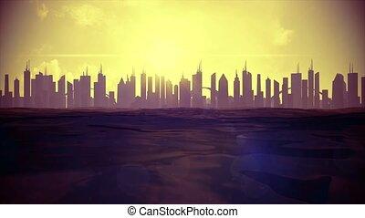 Cityscape skyline ocean rising sea level silhouette skyscraper future climate