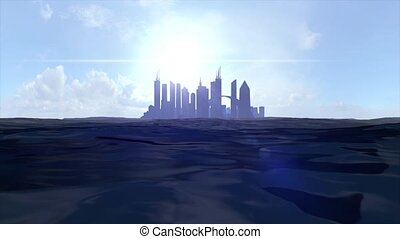 Cityscape skyline ocean rising sea level silhouette skyscraper future island 4k
