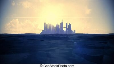 Cityscape skyline ocean rising sea level silhouette skyscraper future island