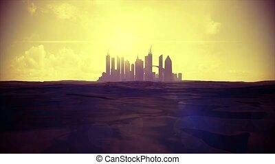 Cityscape skyline ocean rising sea level silhouette skyscraper future island 4k