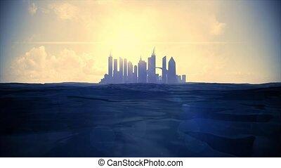 Cityscape skyline ocean rising sea level silhouette skyscraper future island